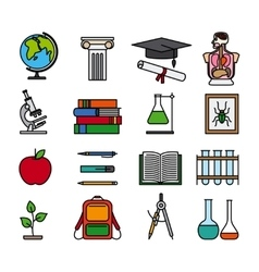 Education color line icons vector
