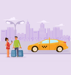 family couple order a taxi vector image