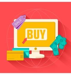 flat commerce internet buy background concept vector image