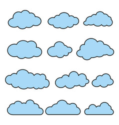 Flat line clouds set vector