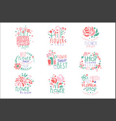 flower shop set logo templates colorful hand vector image