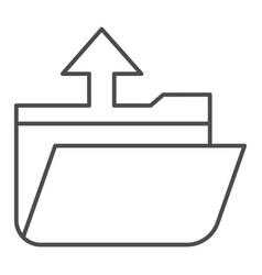 Folder extraction thin line icon open folder vector