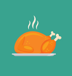 fried chicken or turkey in flat style design vector image
