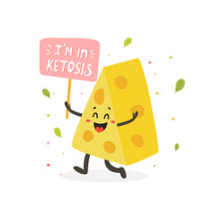 Funny cute cheese character keto diet lover vector