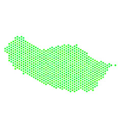 Green hex tile portugal madeira island map vector