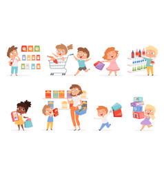 grocery kids parents with children shopping vector image