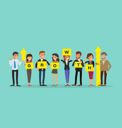 group business people holding board with vector image