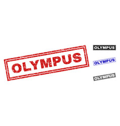 Grunge olympus textured rectangle stamps vector