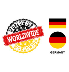 grunge textured worldwide stamp seal with german vector image