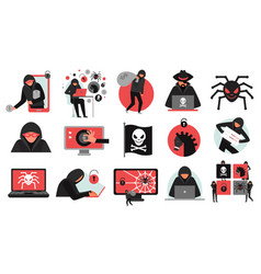 hacker activity icons set vector image