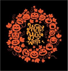 Halloween card - orange silhouette of pumpkins vector image