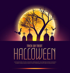 Halloween poster with grave and tree vector