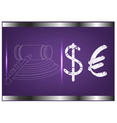 hammer of a judge dollar and euro vector image