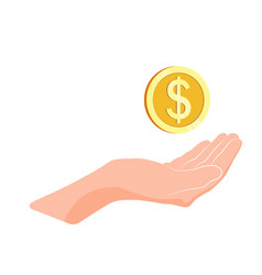Hand hold golden coin charity and donation vector