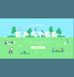 Happy easter web background people in park vector
