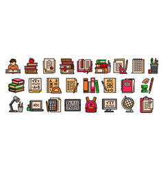 Homework icons set outline style vector