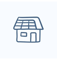 House with solar panel sketch icon vector image