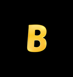 Initial letter b with metallic texture trendy 3d vector