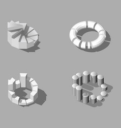 isometric low poly set of infographics in vector image
