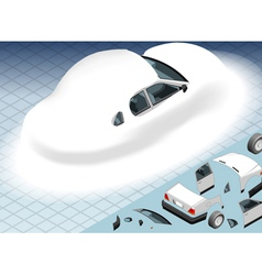 Isometric Snow Capped White Car in Rear View vector image