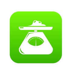 Kitchen scales icon green vector