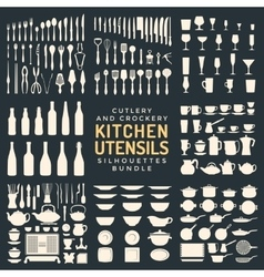 kitchen utensils silhouettes bundle vector image