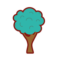 Line color nature tree with trunk and branch vector