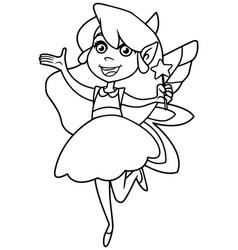 little green fairy line art vector image