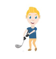 Man playing golf cartoon vector