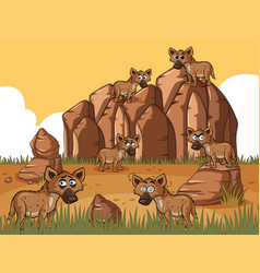 Many hyenas in the field vector