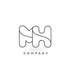 mh monogram letter logo with thin black monogram vector image