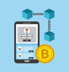 Mobile phone blockchain bitcoin access digital vector
