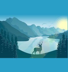 Mountain landscape with deer in a forest near a la vector