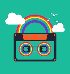 music rainbow cassette abstract background vector image