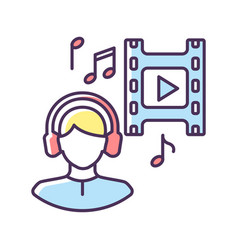 Music supervisor rgb color icon vector