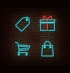 Neon shopping signs isolated on brick wall vector