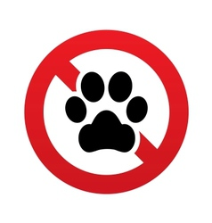 No dog paw icon pets symbol prohibition sign vector