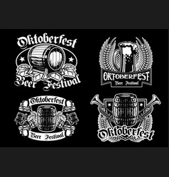 Oktoberfest badge collection in black and white vector
