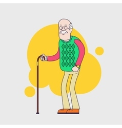 Old man with glasses mustache and walkins cane vector image