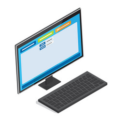 online authorization page on pc screen vector image