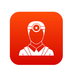 Ophthalmologist with head mirror icon digital red vector