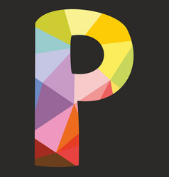P low poly colorful alphabet letter isolated vector