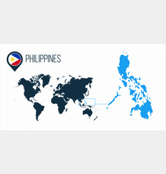 Philippines map located on a world map with flag vector
