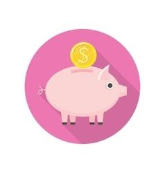 Piggybank Icon in Flat Style Design vector image
