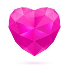 Pink polygon heart vector image