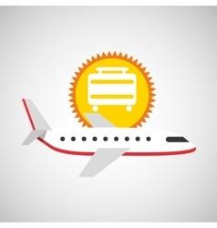 Plane white sun symbol travel suitcase design vector