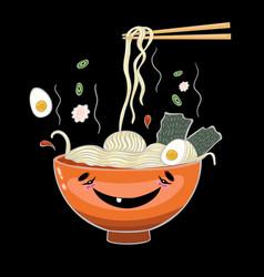 Ramen noodles on a black background graphics vector