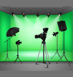 Realistic Green Screen Studio Interior vector