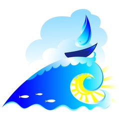 Sailboat on the waves vector
