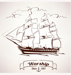 Sailer vintage wooden ship sketch vector